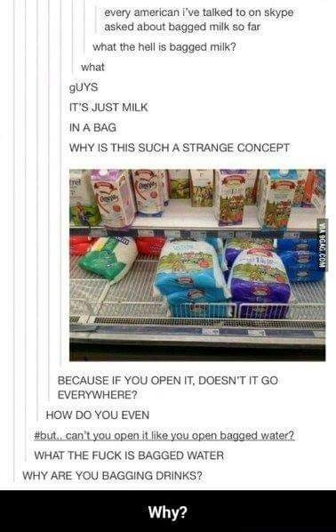 murica meme - Text - every american i've talked to on skype asked about bagged milk so far what the hell is bagged milk? what GUYS IT'S JUST MILK IN A BAG WHY IS THIS SUCHA STRANGE CONCEPT trel BECAUSE IF YOU OPEN IT, DOESN'T IT GO EVERYWHERE? HOW DO YOU EVEN #but. can't you open it like you open bagged water? WHAT THE FUCK IS BAGGED WATER WHY ARE YOU BAGGING DRINKS? Why? VIA OGAG CO