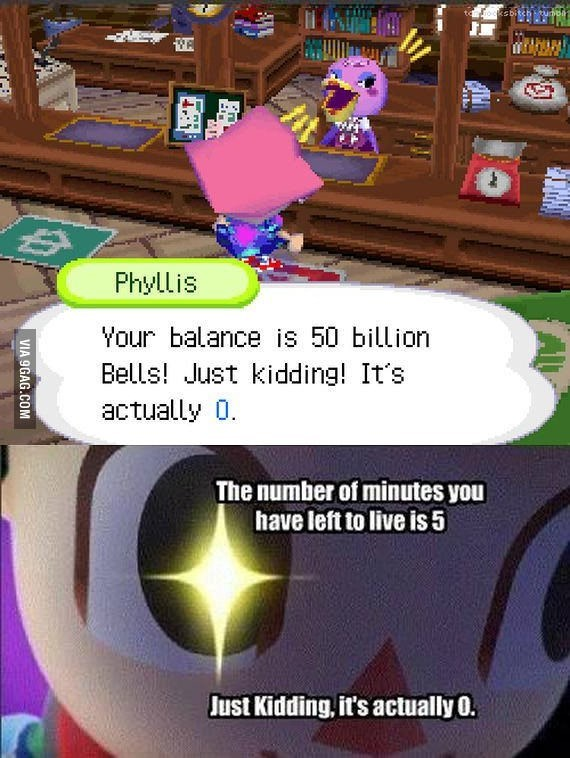 pic of the game 'animal crossing' and the balance of lives and money that is left