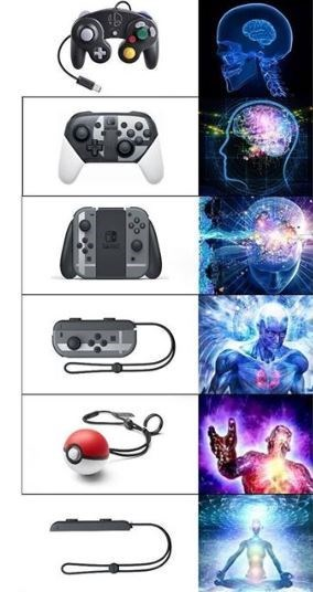 meme about the controllers in Nintendo and how they have changed over time