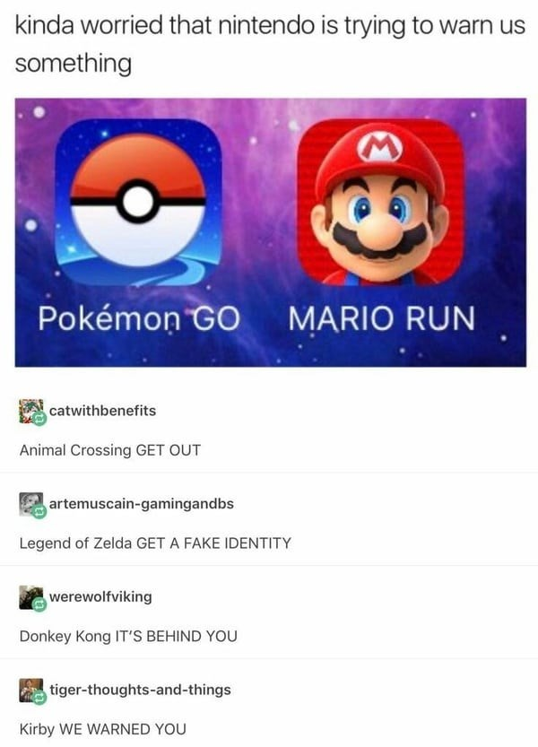 meme about Nintendo putting messages into the names of their games
