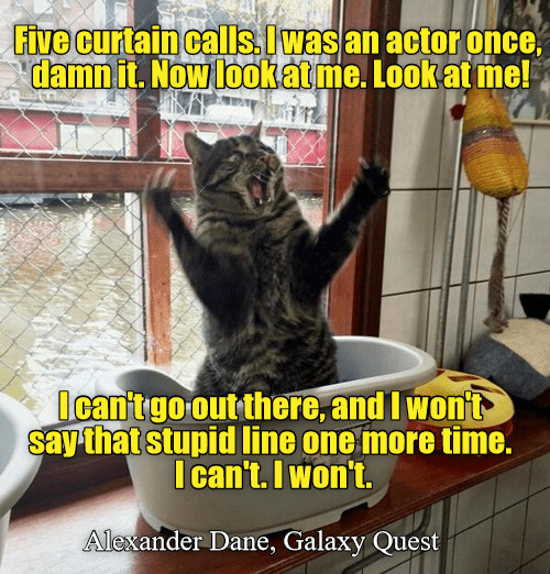 Cat - Five curtain calls. Iwas an actor once, damnit. Nowlookat me. Look at me! Ican'tgo out there, and I wont say that stupid line one more time. I can't. I won't. Alexander Dane, Galaxy Quest