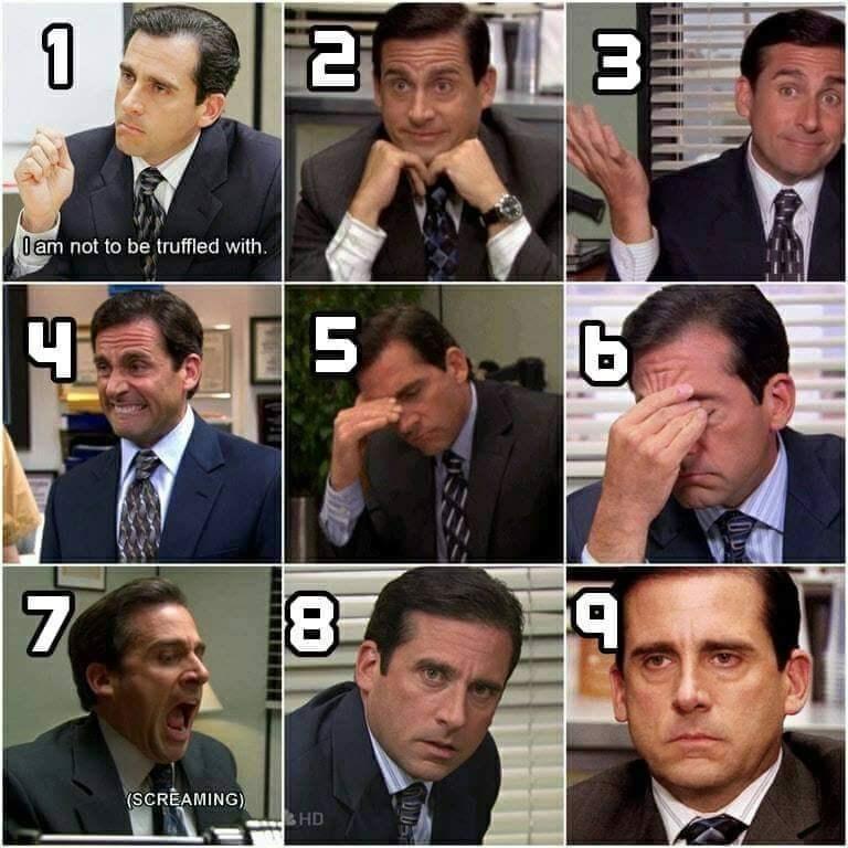 Nine pics of Michael Scott in different moods