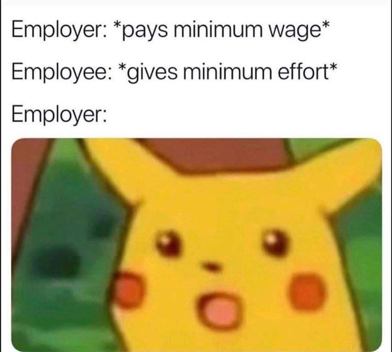 pikachu meme about getting paid minimum wage which results in minimal effort