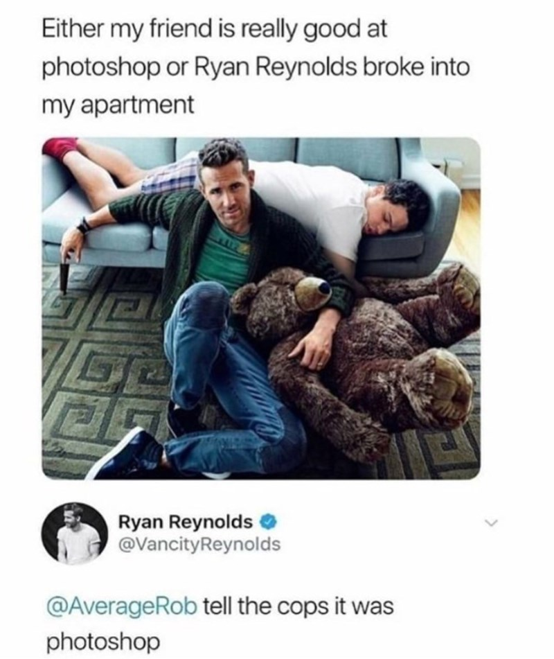 pic of Ryan Reynolds breaking into a persons apartment