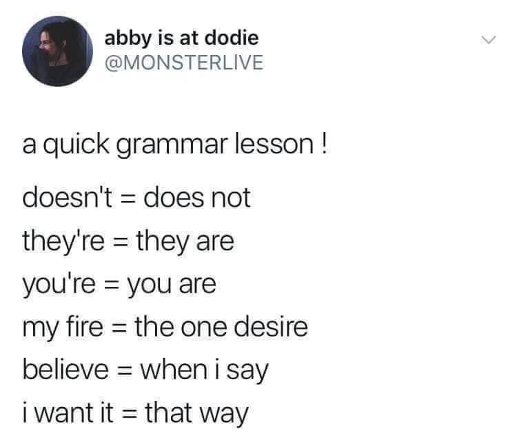 tweet post of a quick grammar lesson on basics