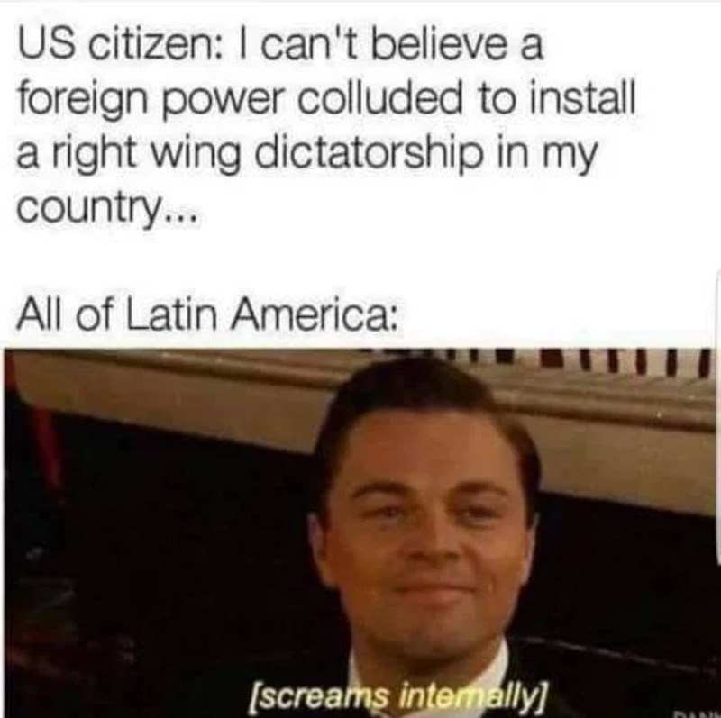 Text - US citizen: I can't believe a foreign power colluded to install a right wing dictatorship in my country... All of Latin America: [screams internally DANH