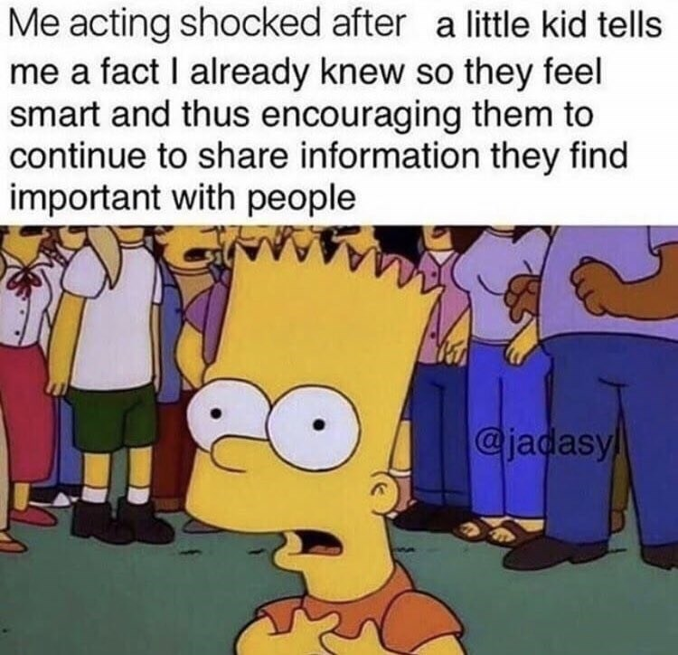 wholesome meme about pretending to not know a fact a kid is telling you to make them feel good