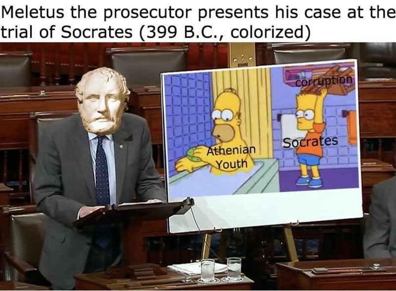 meme about the trial of Socrates