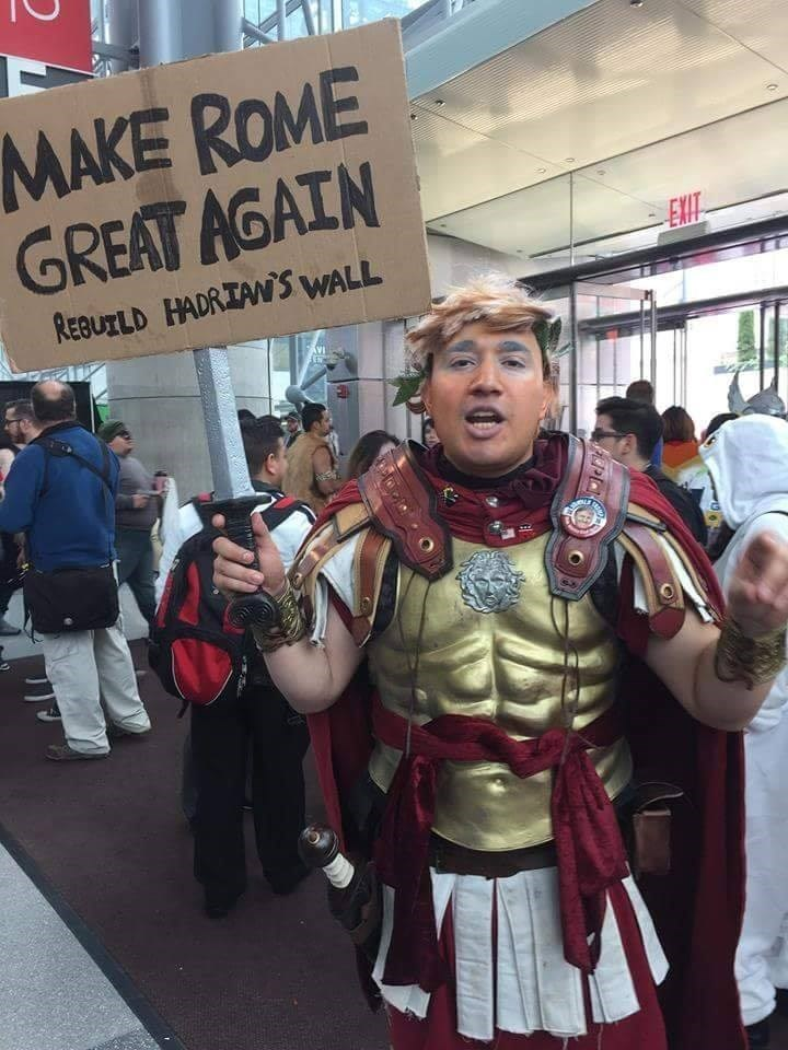 pic of a guy dressed as a roman fighter and wanting to rebuild Hadrian's wall