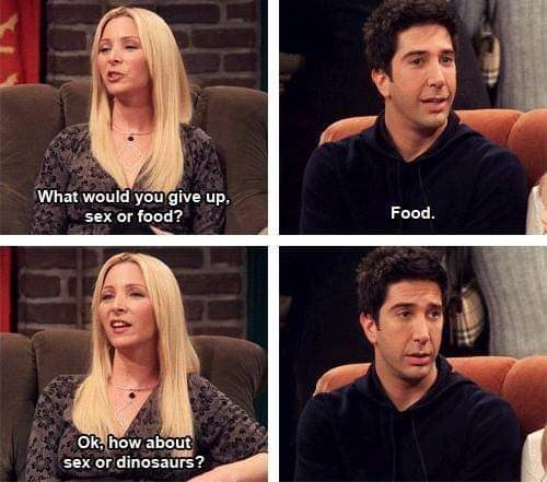 friends meme of phoebe asking ross if he'd prefer sex or other things