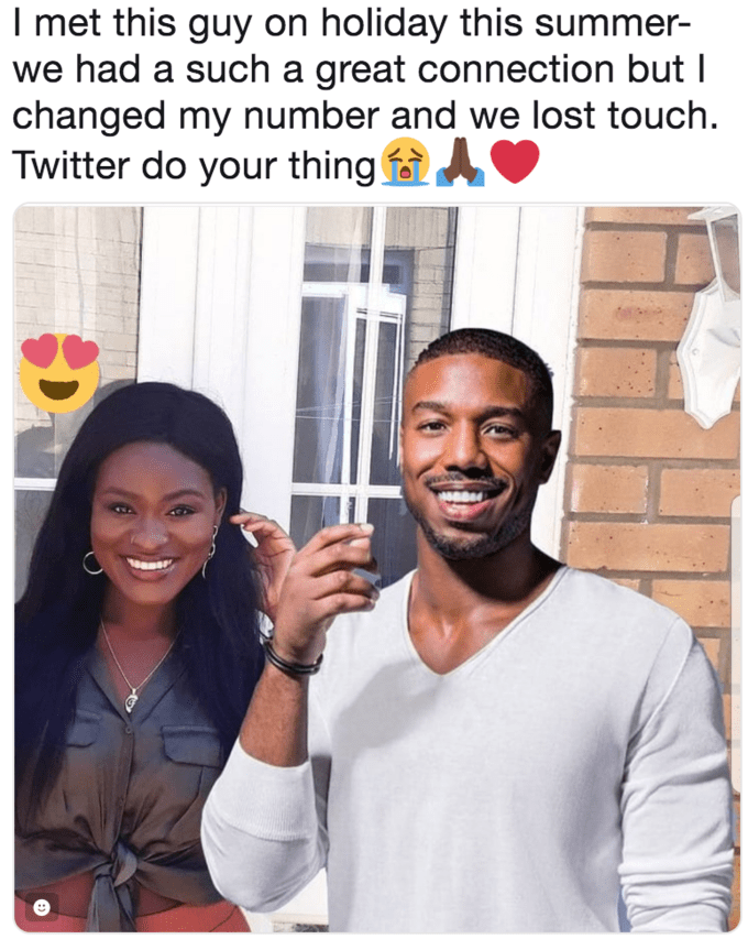 "Caption that reads, ""I met this guy on holiday this summer - we had such a great connect but I changed my number and we lost touch. Twitter do your thing"" above a photoshopped pic of Bolu and Michael B. Jordan"