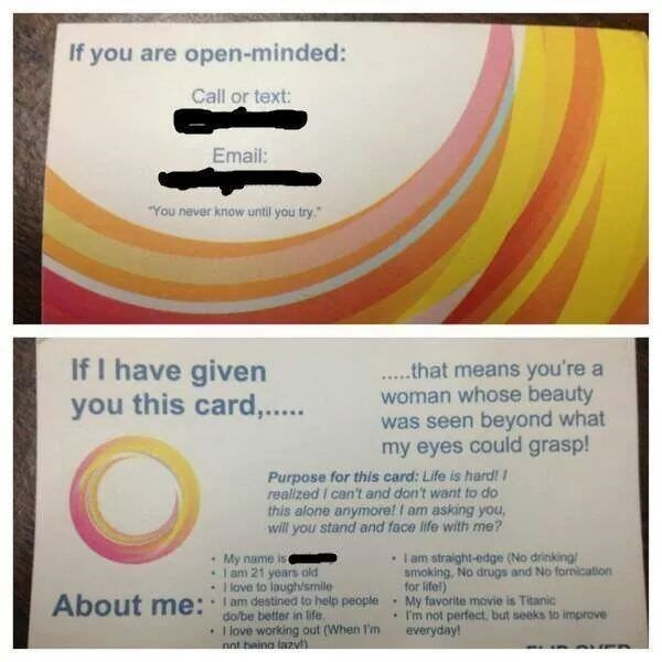 """a """"business card"""" that a man gives out to women"""