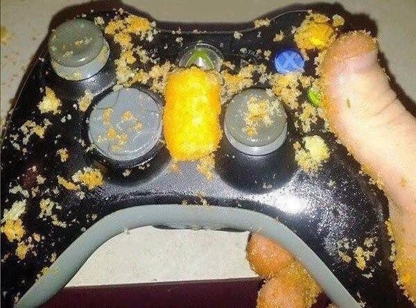 x-box controller covered in food