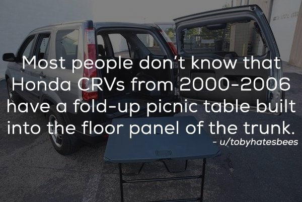 Vehicle - Most people don't know that Honda CRVS from 2000-2006 have a fold-up picnic table built into the floor panel of the trunk. -u/tobyhatesbees