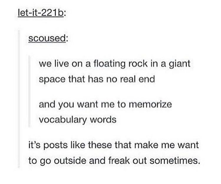 Tumblr post about how we live on a giant floating rock in space and life has no actually meaning