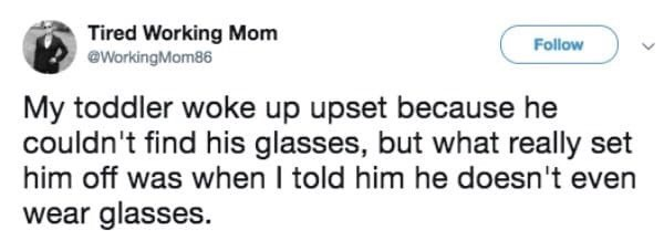 tweet post about a toddler getting upset he can't find his glasses