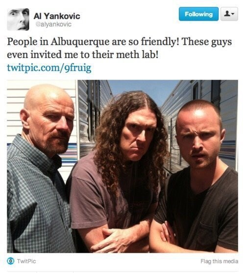 post about the cast of breaking bad inviting you to their meth lab