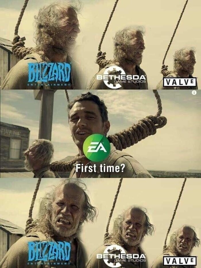 gaming meme about playing EA for the first time