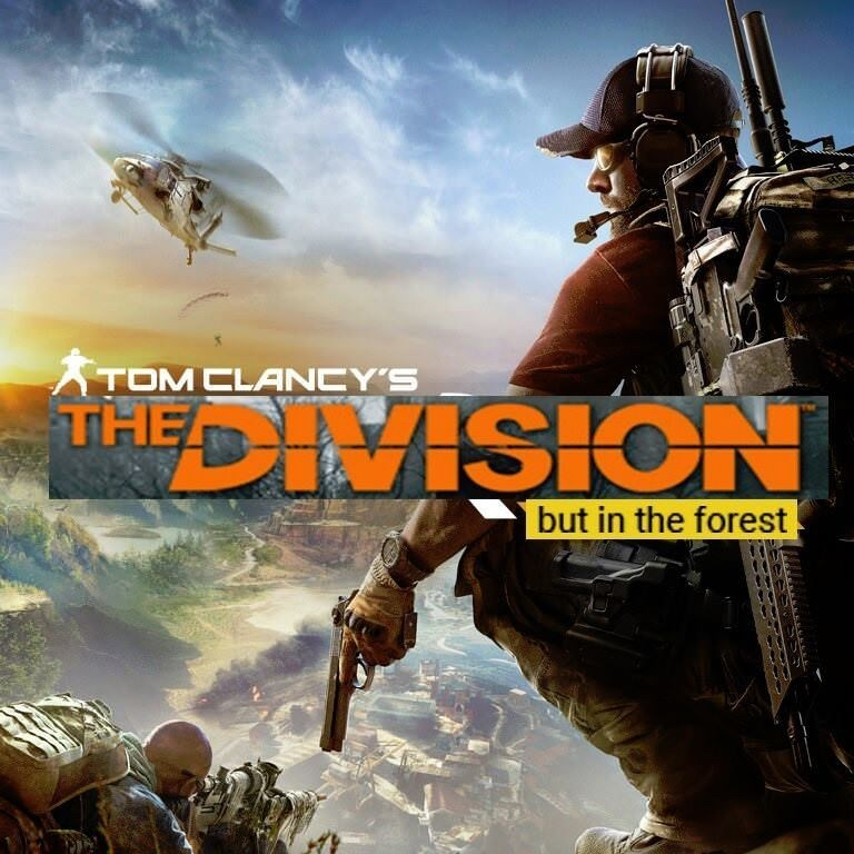 gaming meme about tom Clancy's game, but in the forest