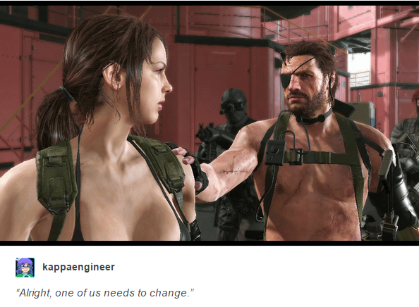 "gaming meme about ""the phantom pain"" and how one of the characters needs to change their clothes"