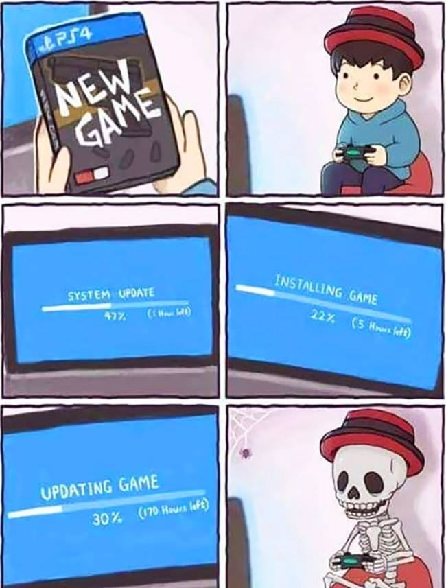 gaming meme about getting a new game and it takes a very long time to install