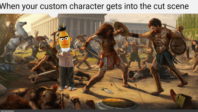 gaming meme about getting your custom character to be in a cut scene