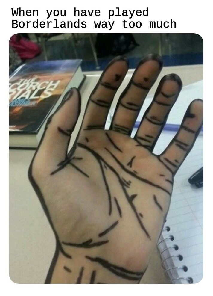 gaming meme about getting lines on your hands after playing borderlands