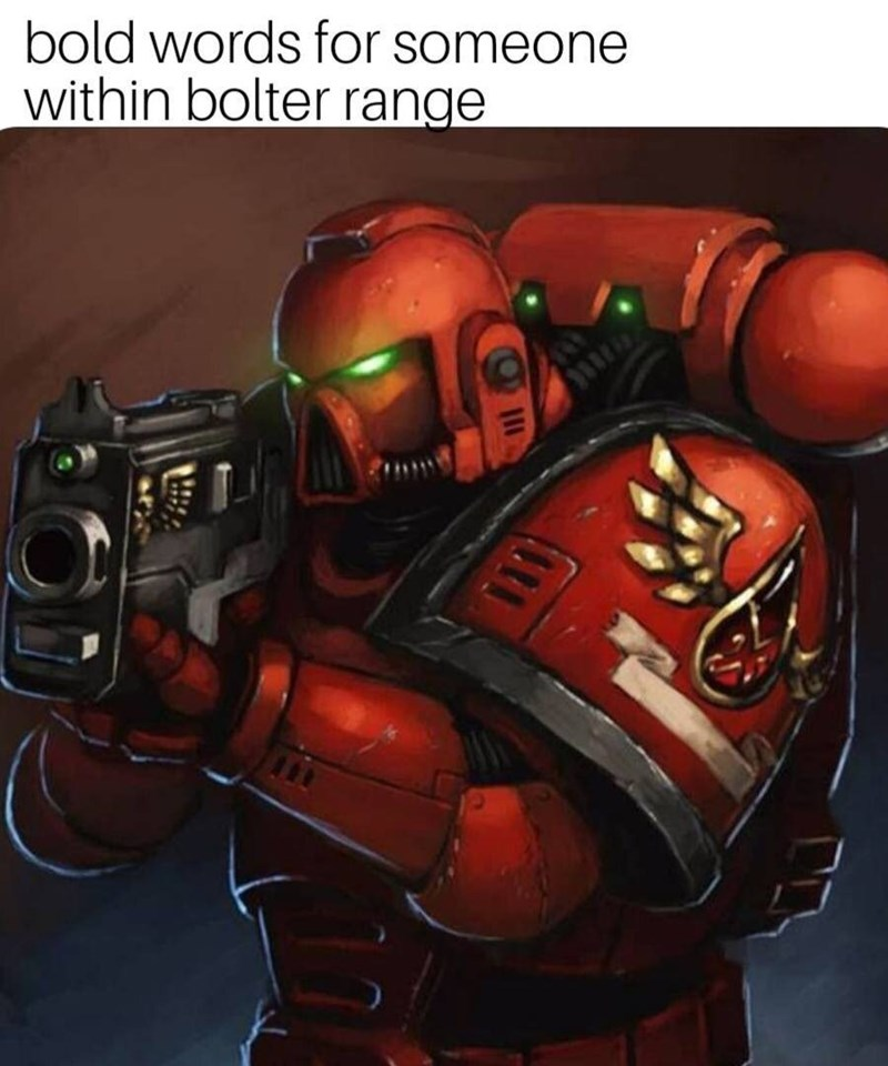 gaming meme about warhammer 40k blood angels holding a gun