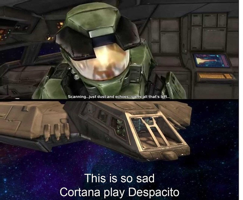 gaming meme about halo wanting to hear the song Despacito
