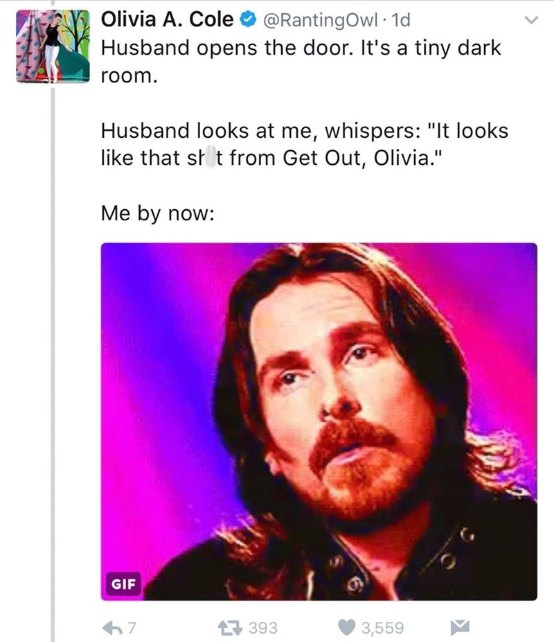 """Text - Olivia A. Cole @RantingOwl 1d Husband opens the door. It's a tiny dark room. Husband looks at me, whispers: """"It looks like that sh t from Get Out, Olivia."""" Me by now: GIF 393 7 3,559"""