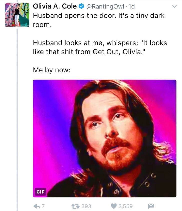 """Text - Olivia A. Cole@RantingOwl 1d Husband opens the door. It's a tiny dark room. Husband looks at me, whispers: """"It looks like that shit from Get Out, Olivia."""" Me by now: GIF 7 393 3,559"""