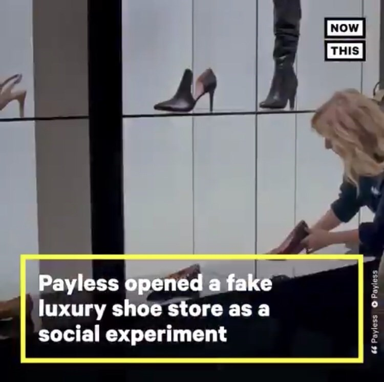 """Text that reads, """"Payless opened a fake luxury shoe story as a social experiment"""""""