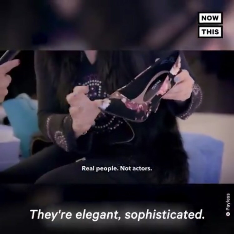 person holding cheap Payless shoe and describing it as elegant