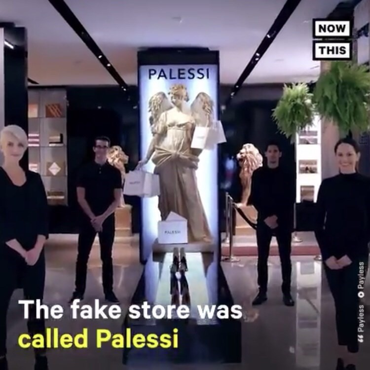 shopping assistants posing in front of fake Palessi store