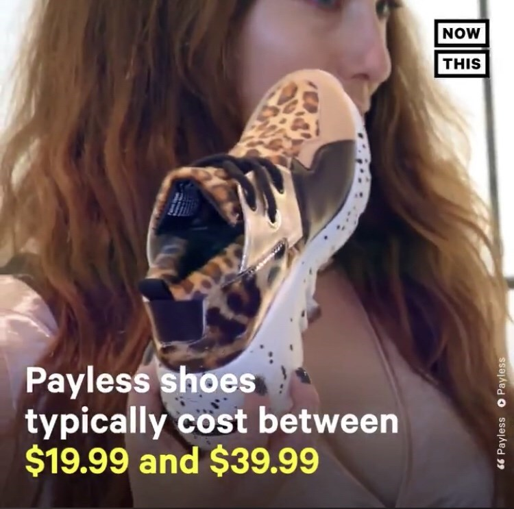 woman holding up Payless shoe with text on screen showing how much they generally cost