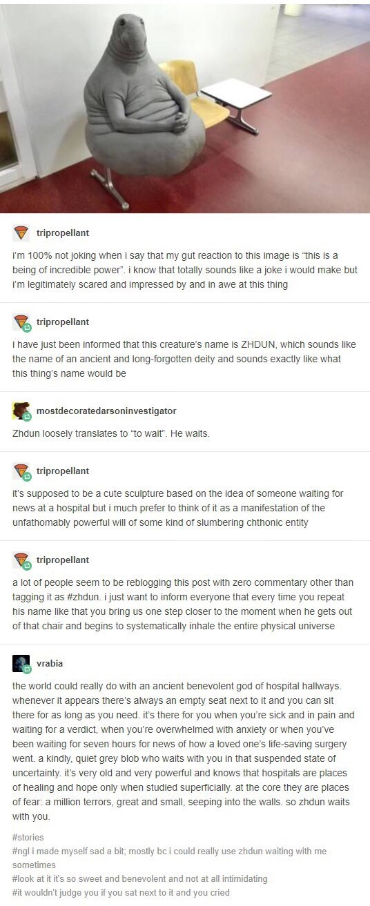 Tumblr thread creating lore for sculpture of manatee sitting on chair