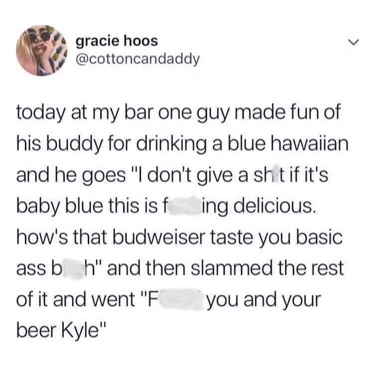 tweet about man in bar choosing cocktails over beers