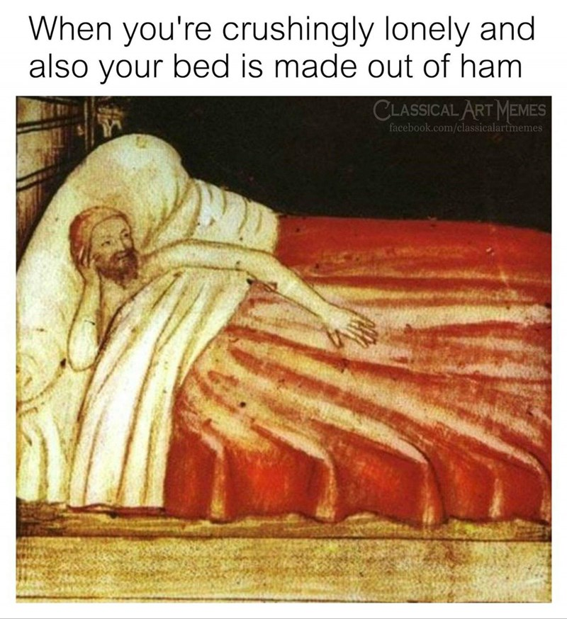 classic painting of man laying in bed deep in thought under a blanket that looks like meat