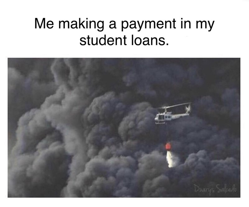 picture of helicopter sprinkling water over giant fire representing the effect of a single payment in your massive loans