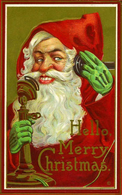 vintage Christmas card with illustration of Santa smiling creepily while answering a phone