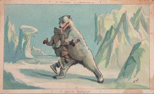 Christmas card with an illustration of a polar bear attacking a person