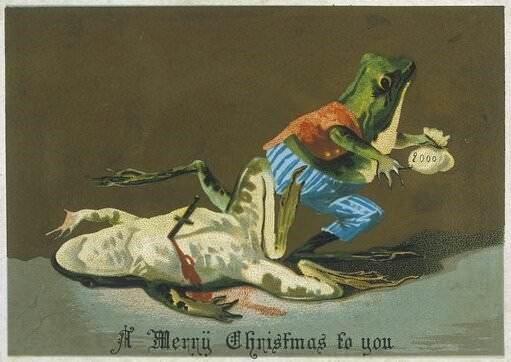 vintage Christmas card with illustration of frog escaping crime scene after stabbing other frog to death