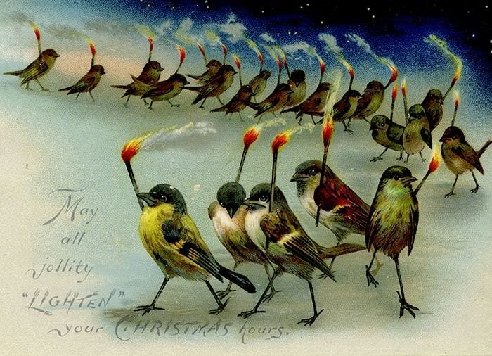 vintage Christmas card with illustration of sparrows walking in line while holding burning torches