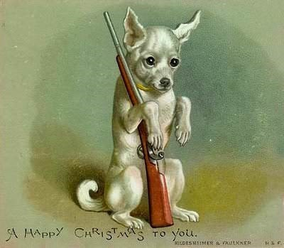 vintage Christmas card with illustration of dog holding a rifle