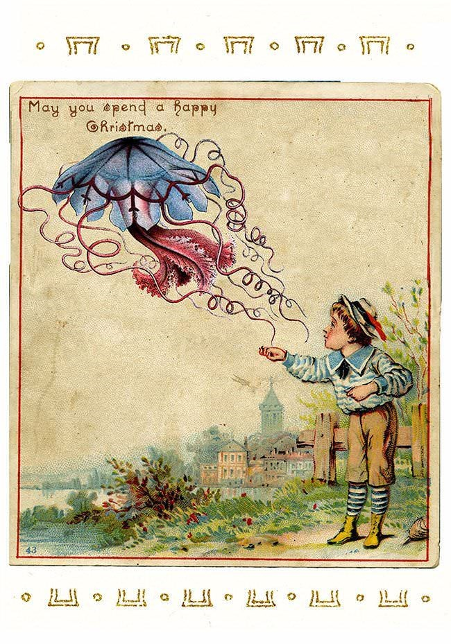 vintage Christmas card with illustration of child about to touch a floating jellyfish