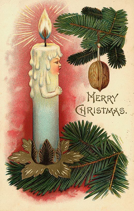 vintage Christmas card with illustration of burning candle with human face