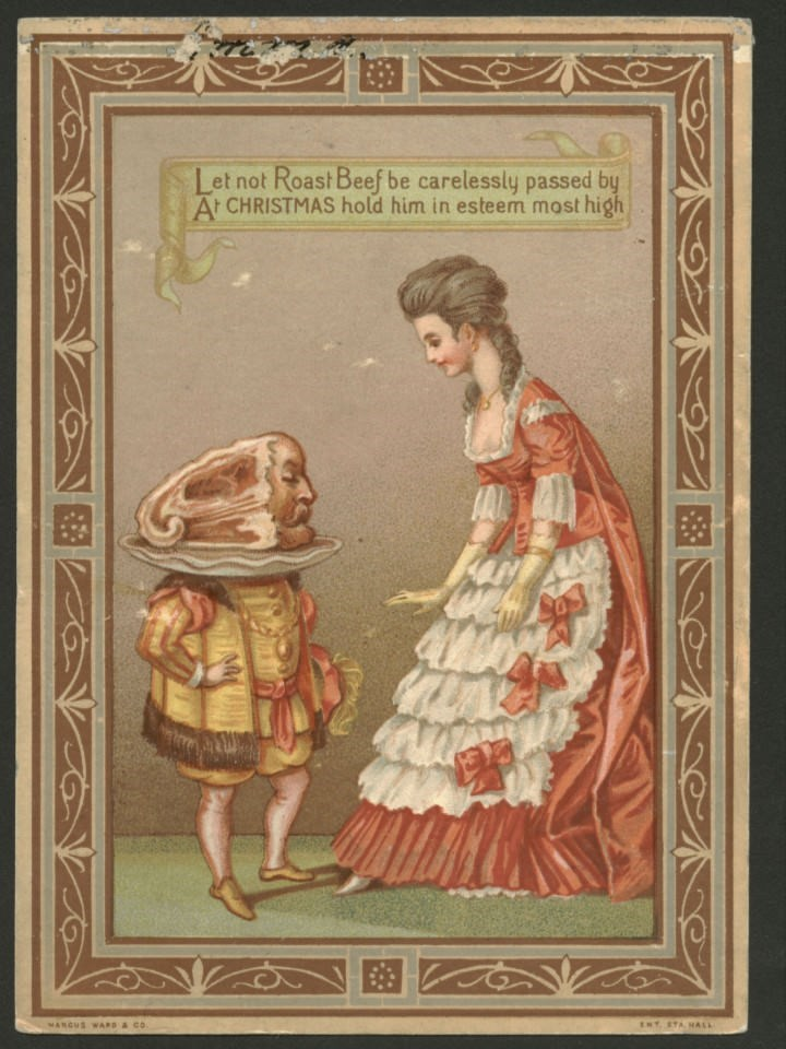 vintage Christmas card with illustration of woman looking down at short man with roast beef for a head