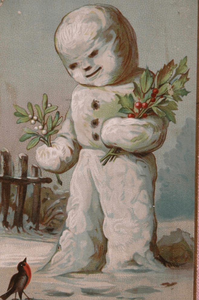 vintage Christmas card with illustration of scary looking snowman looking menacingly at a beard