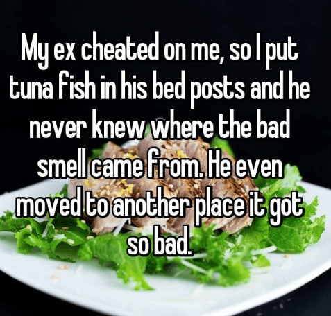 Food - My ex cheated on me, solput tuna fish in his bed posts and he never knew where the bad smellcame from He even moved to another place it goe ot sobad SO