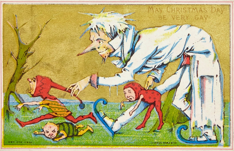 vintage Christmas card with illustration of tall white figure catching elves as they flee from him